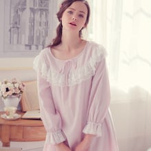 Women's Spring and Summer Long Sleeve Retro Pure Cotton Princess Pajamas Home Wear Womens Nightgown Sleepwear Q20304