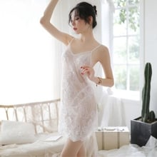 Sexy Night Dress Womens Clothing Femme Homewear See Through Lace ightgowns Backless Lingerie Sleep Wear Sleepwear White Red