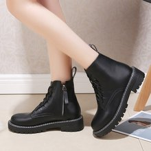 winter women Ankle Martin boots shoes woman Casual Round Toe lace-up low heels warm snow boots women shoes zapatos de mujer