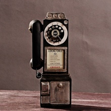 Rotary Antique Dial Pay Phone Model Vintage Phone Booth Call Telephone Figurine KYY8899
