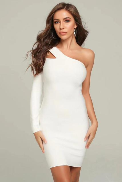 2019 New Women white one shoulder long sleeve Celebrity evening party bodycon bandage dresses wholesale