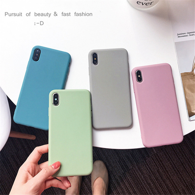 Solid Color Silicone Cases for iPhone 11 Pro Max Case XR X XS Max 6 6S 7 8 Plus Cute Candy Color Soft Simple Fashion Phone Case