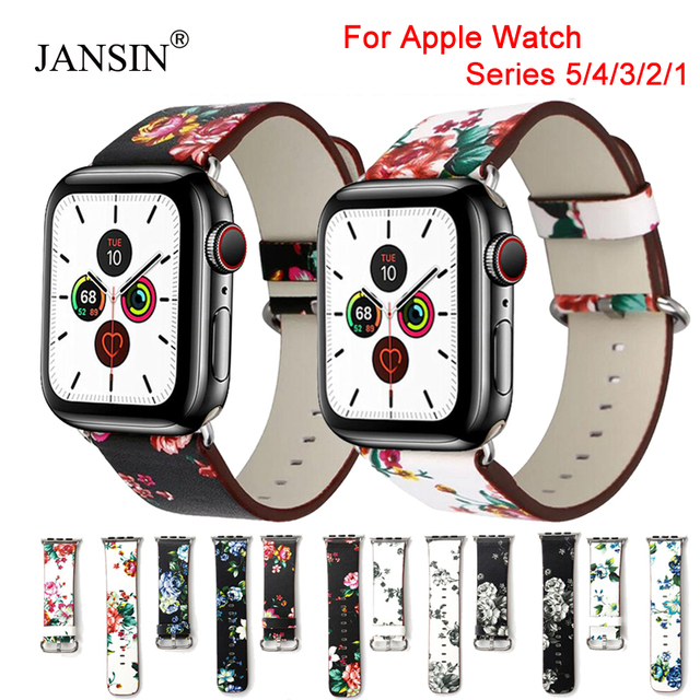 Floral Printed Leather Bracelet Belt for Apple Watch bands 42mm 38mm leather Band Loop Strap for apple watch band 44 mm 40mm