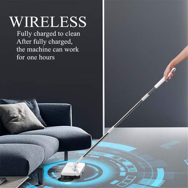 Wireless Rechargeable Sweeping Machine Cordless Reusable Cleaning Pads Spin Powered Floor Mopper Electric Mop Handheld
