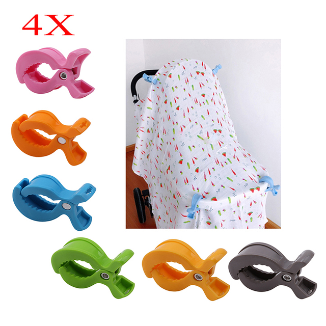 4pcs/Set Baby Car Seat Accessories Toy Lamp Pram Stroller Peg To Hook Cover Blanket  Mosquito Net Clips