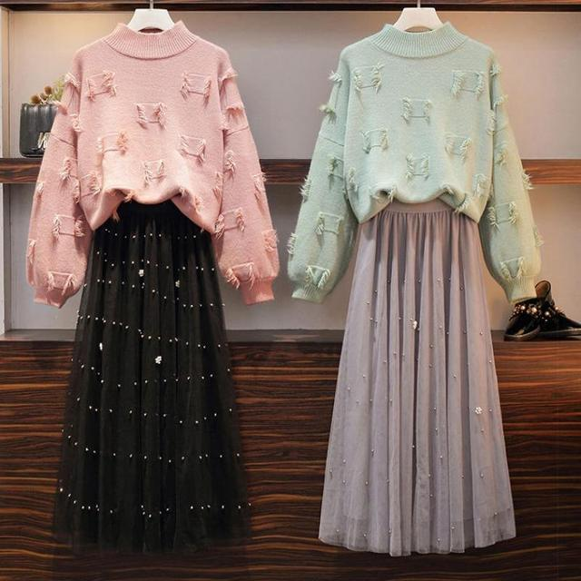 Women 2020 Spring Autumn Two Piece Set Tassel Long Sleeve Sweater Top + Beaded Pleated Mesh Elastic Waist Skirt Suit Sets V129