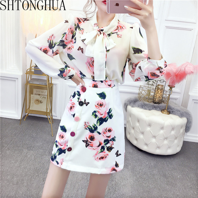 2020 Spring Fashion Rose Printed Women Suit Puff Sleeve Chiffon Shirt Top + High Waist Skirt Suit 2 Pieces Set