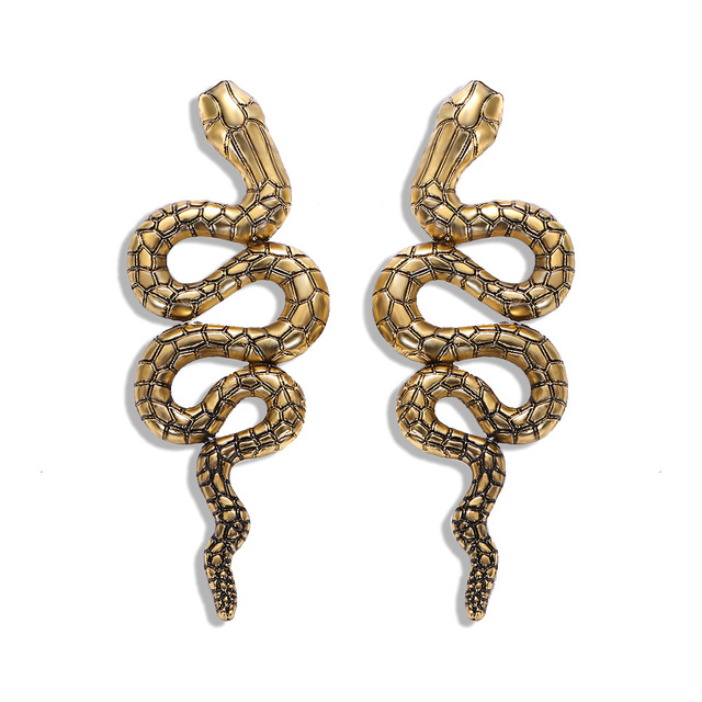 Punk Fashion Gold Silver Color Snake Earrings for Women Animal Curved Geometric Statement Drop Dangle Earrings Vintage Jewelry