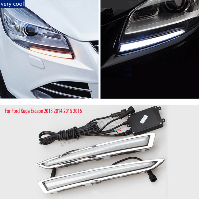 for Ford Kuga Escape headlight 2012-2017 headlight LED drl Daytime Running Lights headlights DRL day light fog lights fog lamps