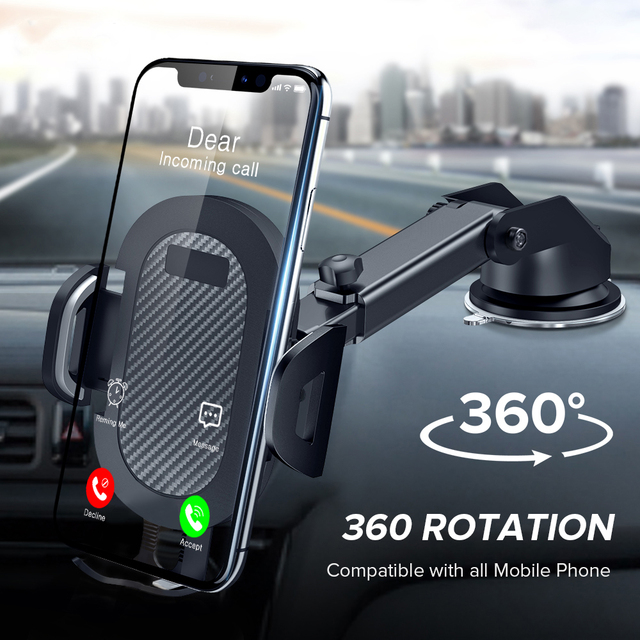 360 Rotation Mount Phone Holder in Car Stand For Samsung iPhone Huawei No Magnetic Support Mobile Phone Sucker Car Phone Bracket