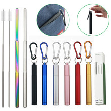 18/10 Stainless Steel Collapsible Straw Set Reusable Telescopic Drinking Straw Portable Straw For Travel Metal Drink Straw Brush