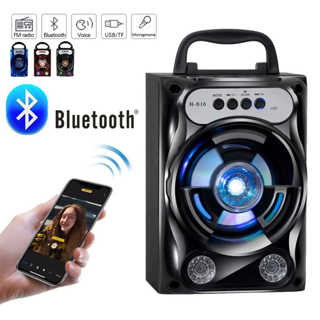 Protable Bluetooth Speaker Wireless Bass Stereo Sound System With Led Light Speaker Support TF Card FM Radio Outdoor Travel