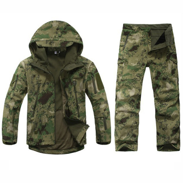Camouflage Hunting Clothes Tactical Softshell TAD Suits Men Waterproof Windproof Outdoor Sport Hiking Camping Jacket + Pants