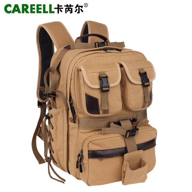 CAREELL Canvas Digital Large DSLR Camera Bag Professional Kamera Travel Photo Double-shoulder Backpack Bag for Nikon Canon Sony