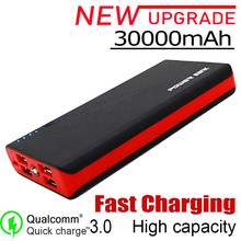 30000mAh Power Bank Portable 4USB Phone Charger Large Capacity Travel External Battery Pack External Battery Charger for Iphone