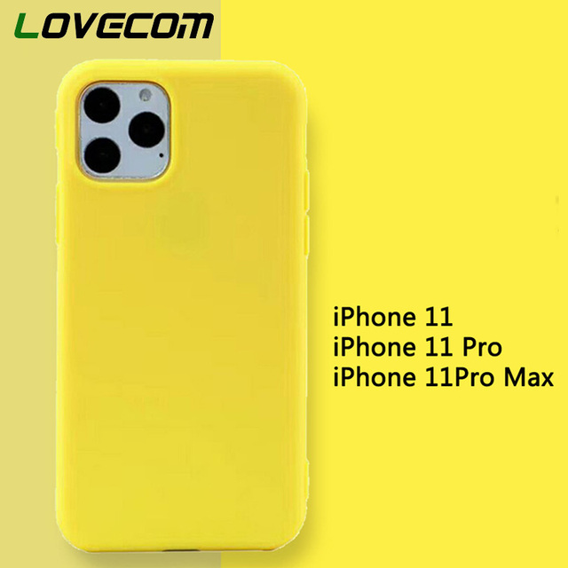 LOVECOM Cute Cartoon Lemon Yellow Case For iPhone 11 Pro Max X XS Max XR 6 6S 7 8 Plus Plain Candy Color Soft Phone Back Cover