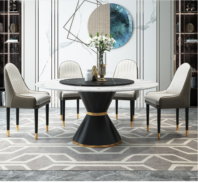 Rock Plate Round Dining Table With Turntable Marble Round Dining Table And Chair Combination Post Modern Dining Table For 8 Peop Buy Inexpensively In The Online Store With Delivery Price Comparison