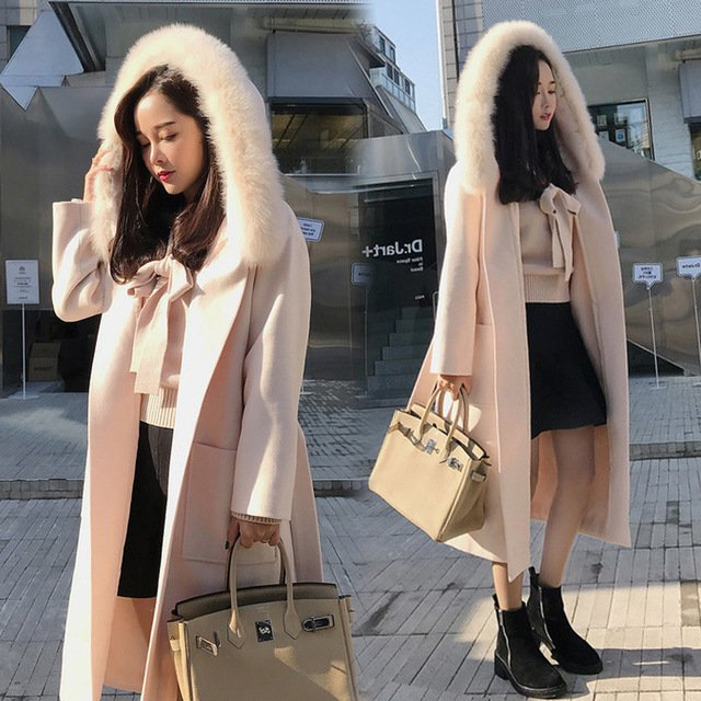Winter Woman Coats 2019 Autumn and Winter New Large Size Woolen Coat Loose Thick Hooded Woolen Coat Female