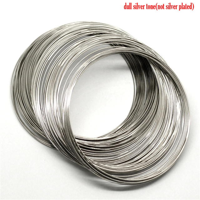 200 Loops Doreen Box Memory Beading Steel Wire Silver Color 80mm-85mm Dia. For DIY Bracelet Jewelry Making (B18222)