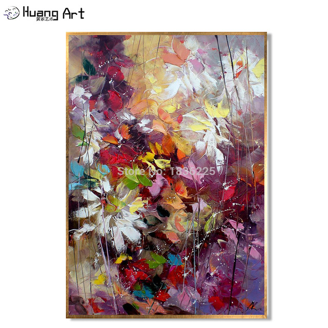 Handmade Oil Painting On Canvas Modern Colorful Red Flower Oil Painting for Living Room Wall Decor Flower Hang Picture