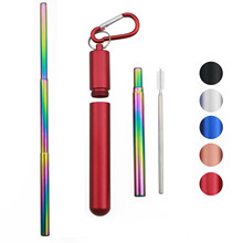 Portable Telescopic Drinking Straw Set 304 Stainless Steel Metal Straw Reusable Travel Collapsible Straw with Brush Carry Case