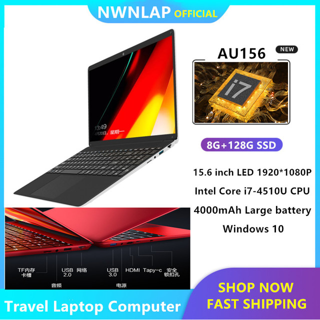 8GB RAM+128GB SSD 1920*1080P LAPTOP windows 10 PC Computer Intel Core i7-4510U CPU 3.1GHZ Quad Core Slim Ultrabook