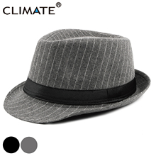 CLIMATE Men Jazz Hat Fedora Man Striped Jazz Gentry Formal Hats for Man Solid Polyester Woolen Fedoras Cap Fedora Men Hat Cap