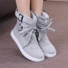 Winter Women Boots Casual Canvas Shoes Woman Black Grey Ankle Boots Female Lace Up Platform Shoes Ladies Oxford Flats 236