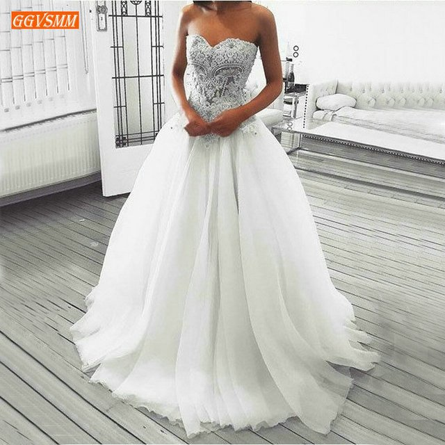 Romantic Strapless White Wedding Dress Lace Applique Beaded Tulle A Line Bridal Dresses Ivory Sweetheart Princess Wedding Gowns
