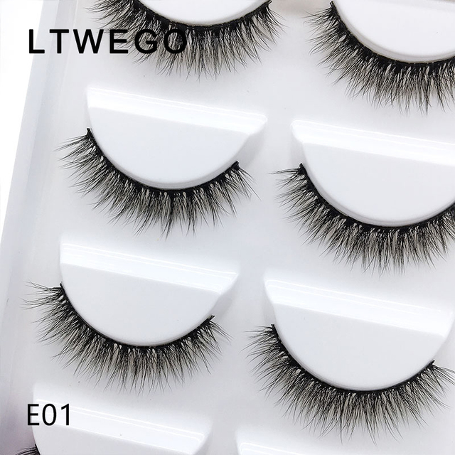 LTWEGO 5 pairs fluffy faux mink eyelashes natural long false eyelash extension handmade volume 3d lashes makeup faux cils cilios