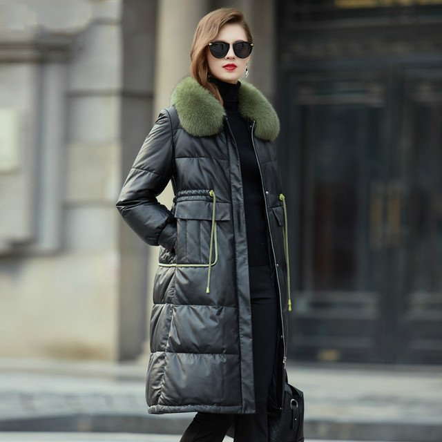 Real Genuine Leather Jacket Fox Fur Collar Autumn Winter Coat Women Clothes 2019 Korean Sheepskin Down Coat Plus Size ZT4905