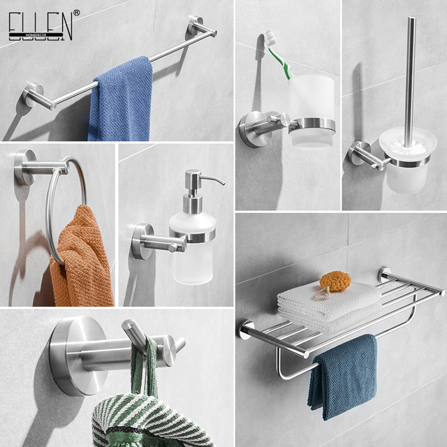 SUS 304 Stainless Steel Bathroom Brush Nickel Soap Dispenser Towel Holder Paper Holder Bathroom Soap Dish Accessories EL1900L