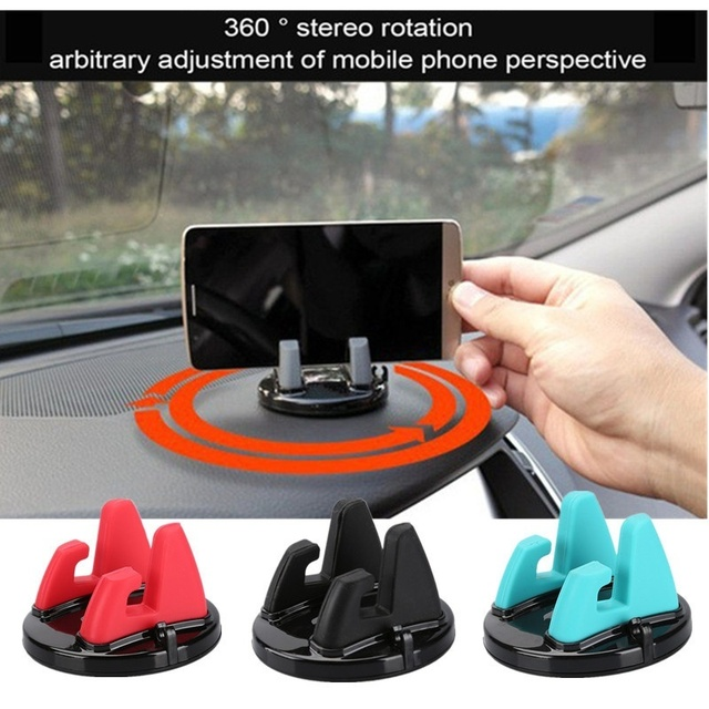 Car Universal Holder Rotatable Soft Silicone Anti Slip Mat Mobile Phone Mount Stands Bracket Support for iPhone 5 6 6s 7 GPS