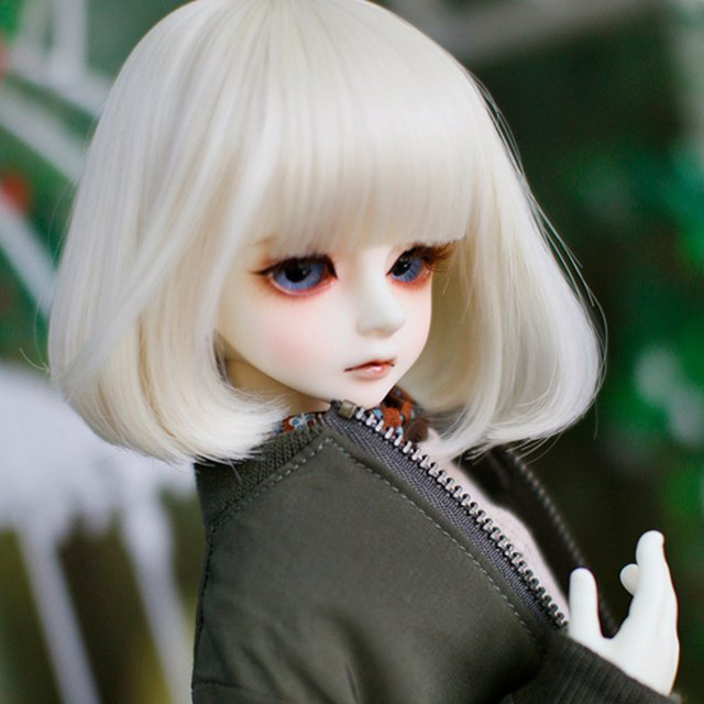 1/3 1/4 1/6 1/8 High Temperature Short Light Blonde Straight Wire Bjd Wig SD For Toy Doll Hair