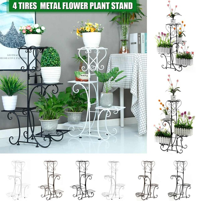 4 Tier Metal Plant Stand Flower Pot Holder Display Home Decor Garden Indoor Outdoor Balcony Flower Storage Rack Adjustable Buy Inexpensively In The Online Store With Delivery Price Comparison Specifications Photos
