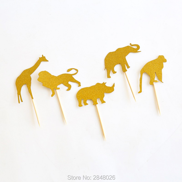 Golden Safari Cupcake Toppers in Gold,Jungle Baby Shower Decorations,Gold Glitter Animal toppers, Zoo Party,
