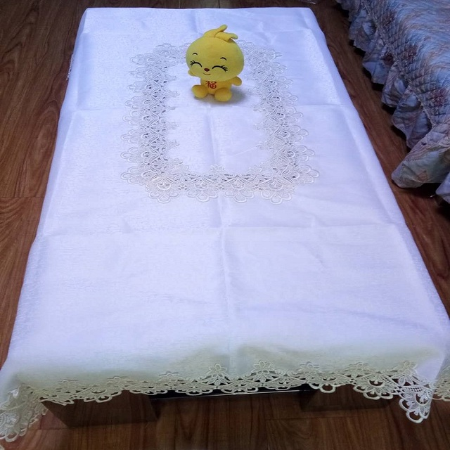 lace table cloth embroidery tablecloth,top quality table cover,coffee bar table cover oblong size cream color or light yellow
