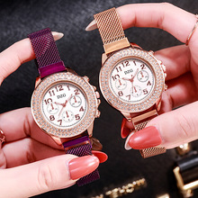 Woman Watch 2020 Fashion Luxury Diamond Quartz Wristwatches Ladies Magnetic Mesh Wrist Watches Women Casual Simple Female Clock