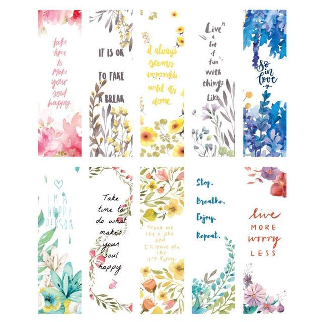 30pcs/set Beautiful Flowers Bookmarks Book Separation Fresh Office School Bookmark Paper Bookmarks Small Literary Page Supp K1S7