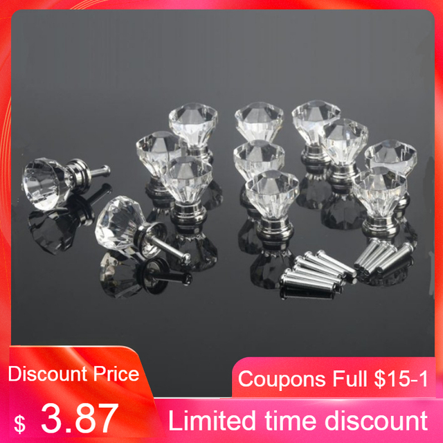 12Pcs 30mm Clear Acrylic Diamond Shape Knob Cupboard Drawer Pull Handle knobs Brand New knobs and handles for furniture drawers