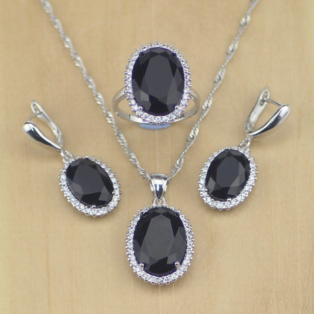 Women 925 Sterling Silver Jewelry Black CZ White Crystal Jewelry Set Earrings/Pendant/Necklace/Ring Size 6 7 8 9 10 T231