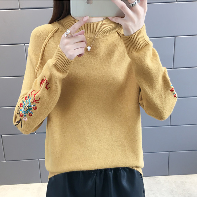 womens sweaters 2019 Autumn Winter New Fashion Loose Embroidery Cat Brand Sweater Pullovers Warm Knitted Sweater Pullover Female