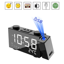 Projection Clock Digital Alarm Clock with Snooze Function Thermometer 87.5-108 MHz FM Radio USB/Batterys Power Table LED Clock