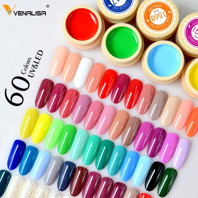 Venalisa UV Gel flash deal Nail Art Tips Design Manicure 60 Color UV LED Soak Off DIY Paint Gel Ink UV Gel Nail Polishes Lacquer