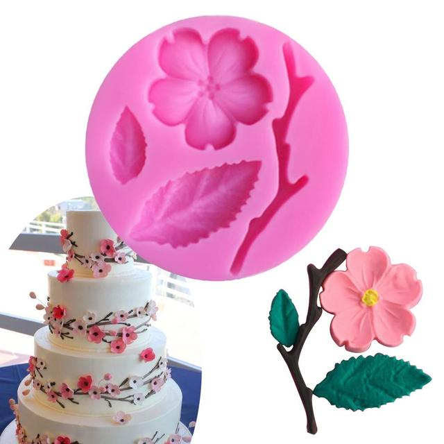 Peach Blossom Shape Fondant Moulds Silicone Cake Mold Soap Chocolate Stencils Kitchen Pastry Baking Tools Silicone Forms
