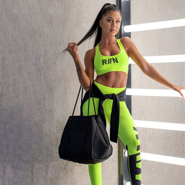 Neon Yellow Sportswear Two Piece Set Women Sleeveless Square Collar Crop Tops Elastic Waist Long Pants Fashion Tracksuits