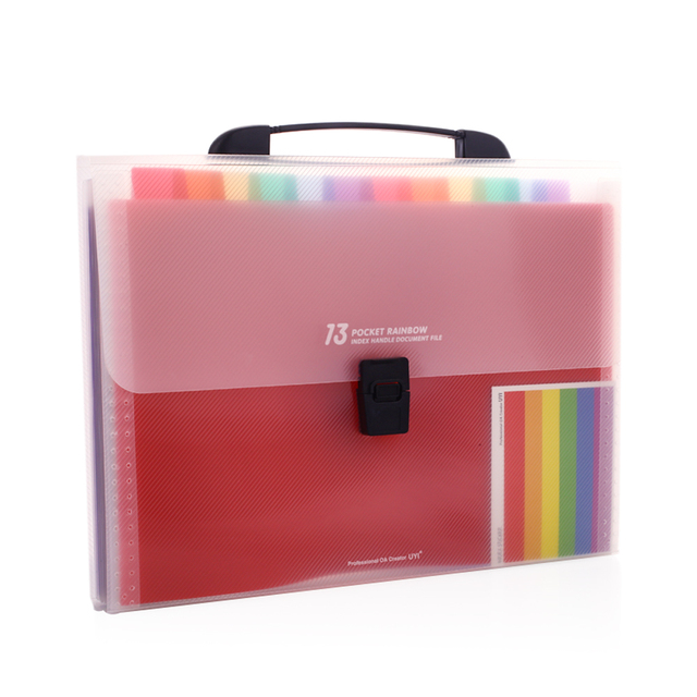 A4 Document Bag 13 Grids Rainbow Color File Holder Manager Stationery Multifunctional Business Organizer Receipt Folder