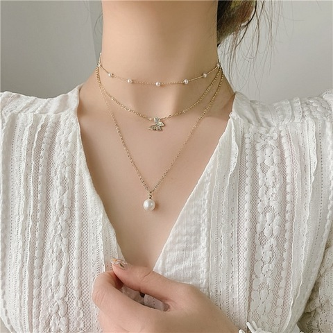 Fashion Women Simple Copper Collar Chain Crystal Pearl Beads Choker Necklace