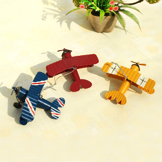 Vintage Iron Aircraft Model Retro Airplane Figurines Metal Glider Biplane Model Photo Props Bar Office Coffee Home Decorations