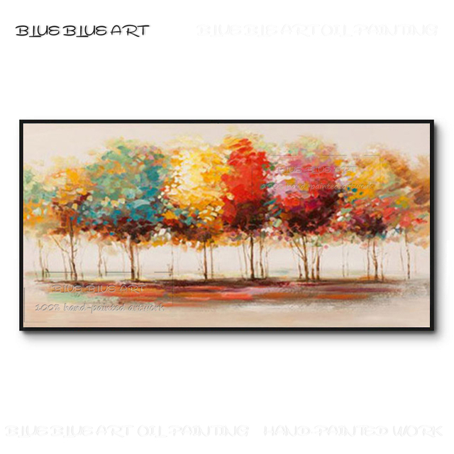 Pure Hand-painted Abstract Forest Acrylic Painting on Canvas Beautiful Landscape Picture Abstract Birch Landscape Oil Painting